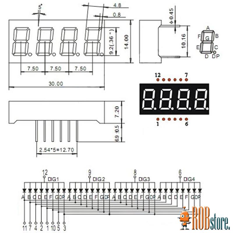 LED Индикатор четыре числа
